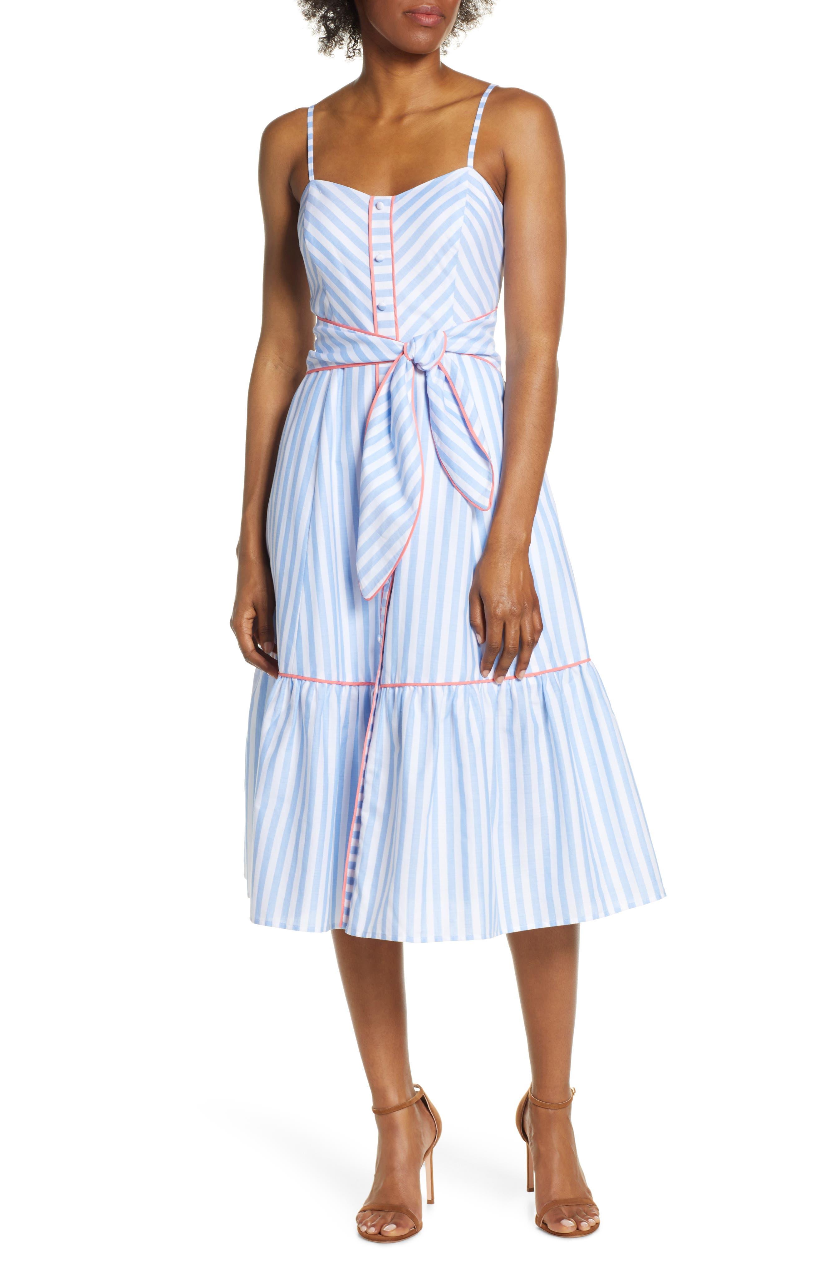 Eliza J Stripe Piped Cotton Sundress, Blue
