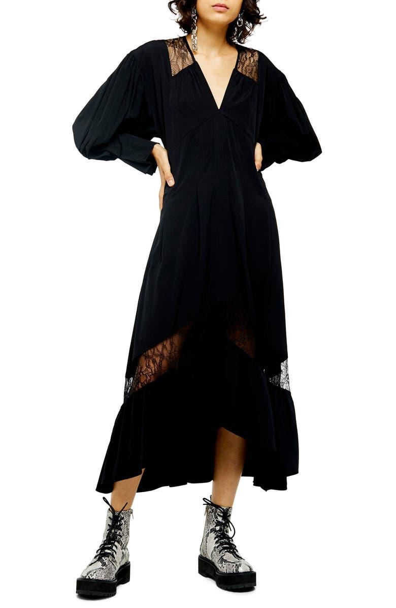 TOPSHOP Lace Trim Long Sleeve Midi Dress, Main, color, BLACK
