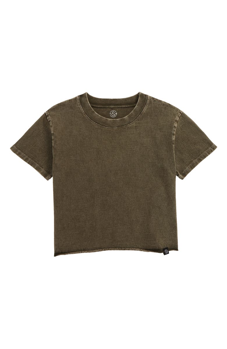 TREASURE & BOND Washed Crop T-Shirt, Main, color, OLIVE SARMA
