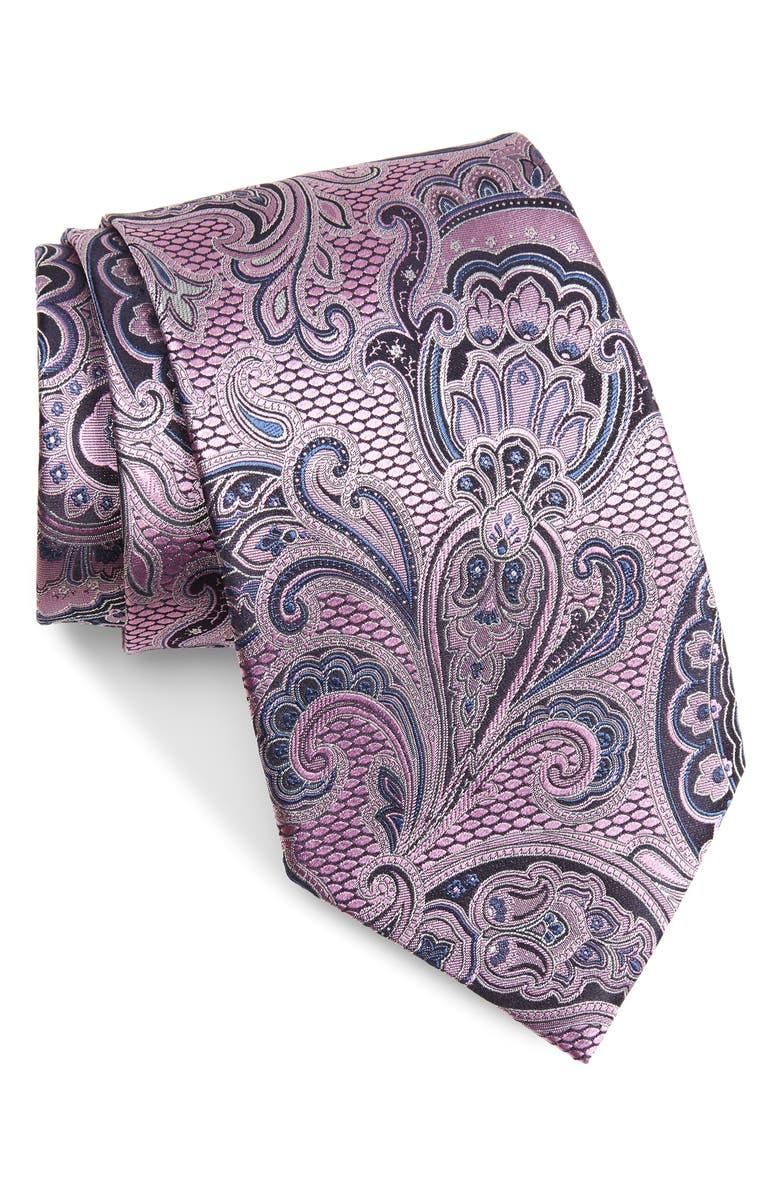 ERMENEGILDO ZEGNA Paisley Silk X-Long Tie, Main, color, PINK FAN