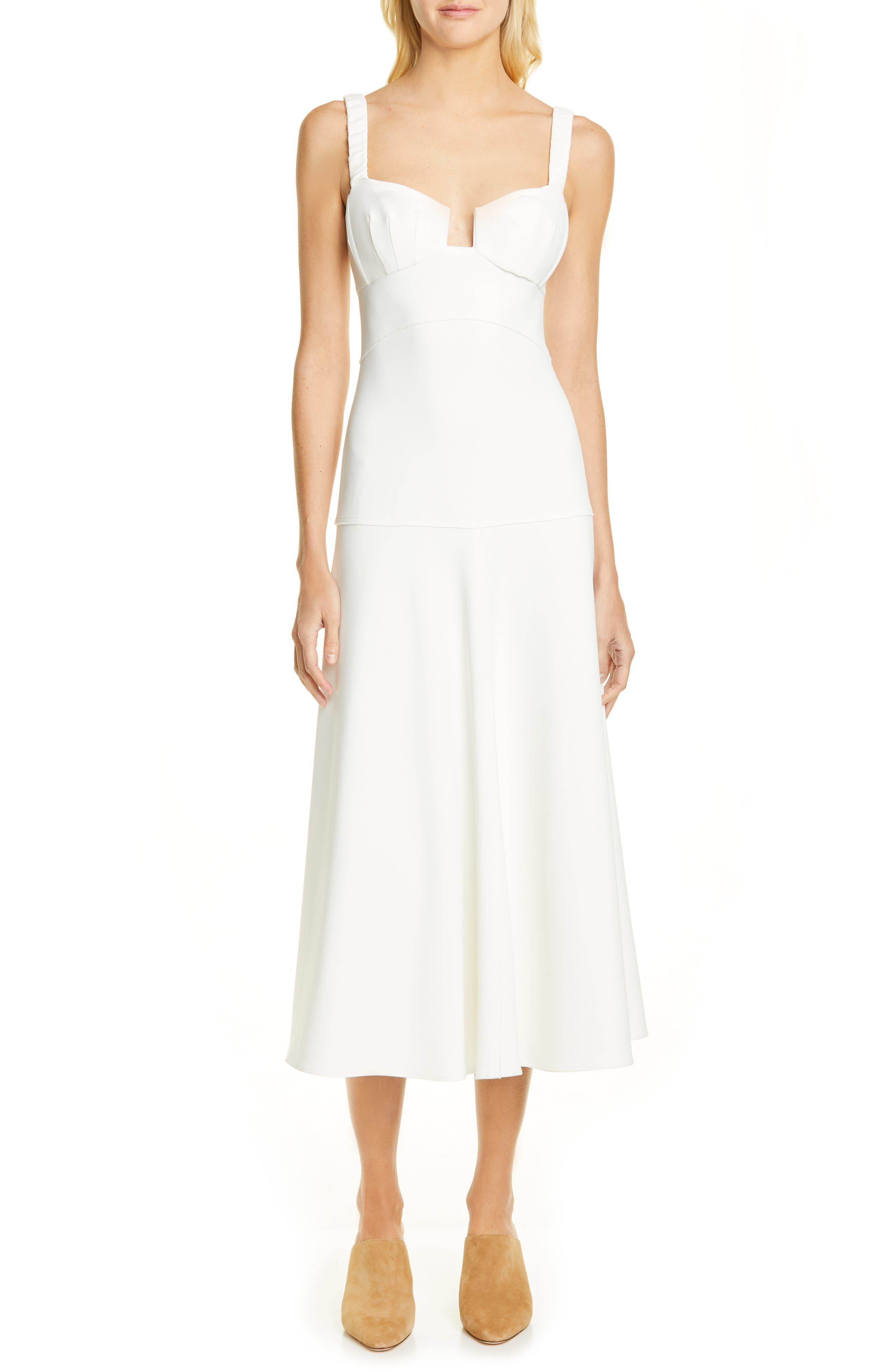 Rachel Comey Spike Bustier Midi Dress, Ivory
