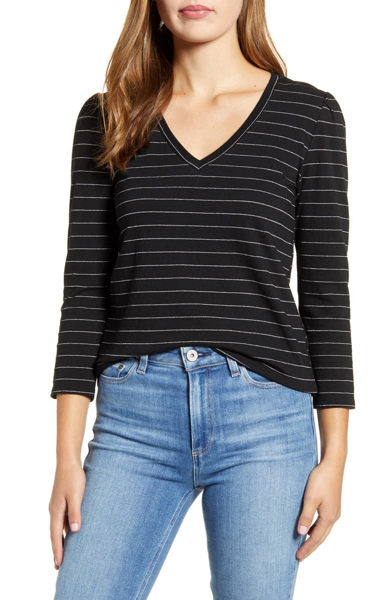 LUCKY BRAND Stripe Puff Sleeve Tee, Main, color, BLK/ WHT STRIPE