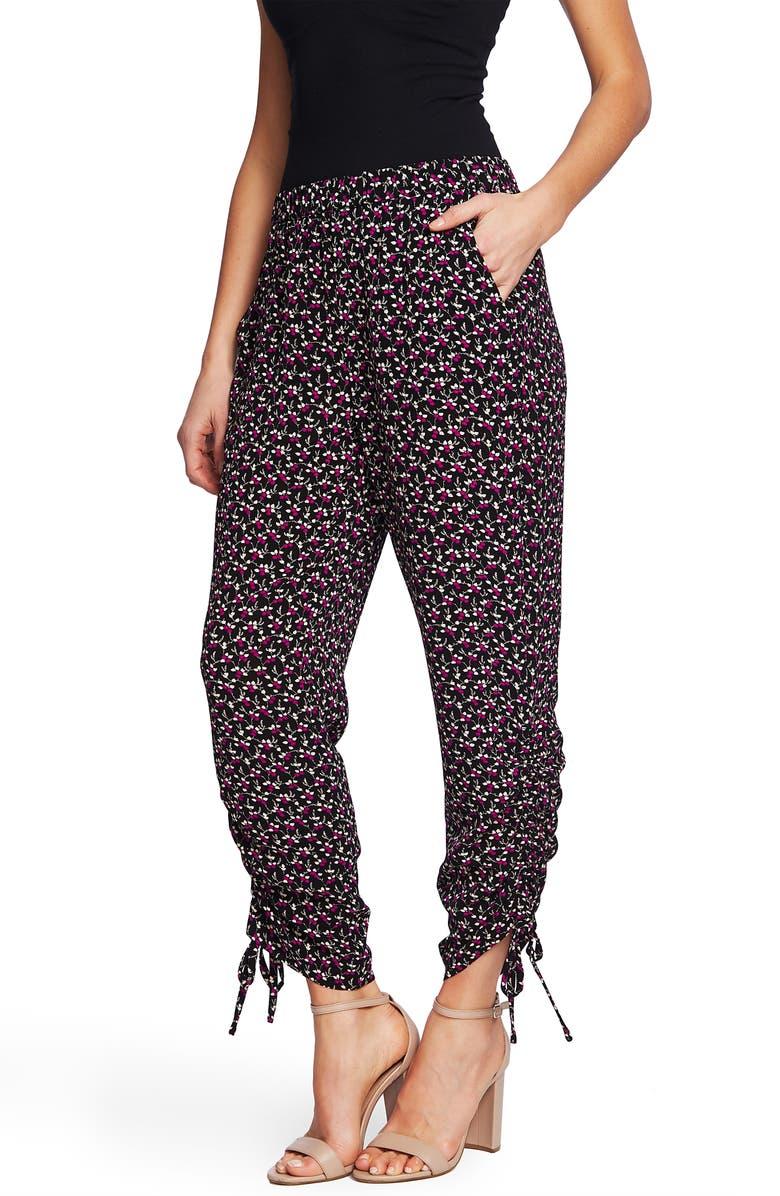 CECE Marrakesh Lace Ditsy Ruched Ankle Pants, Main, color, RICH BLACK