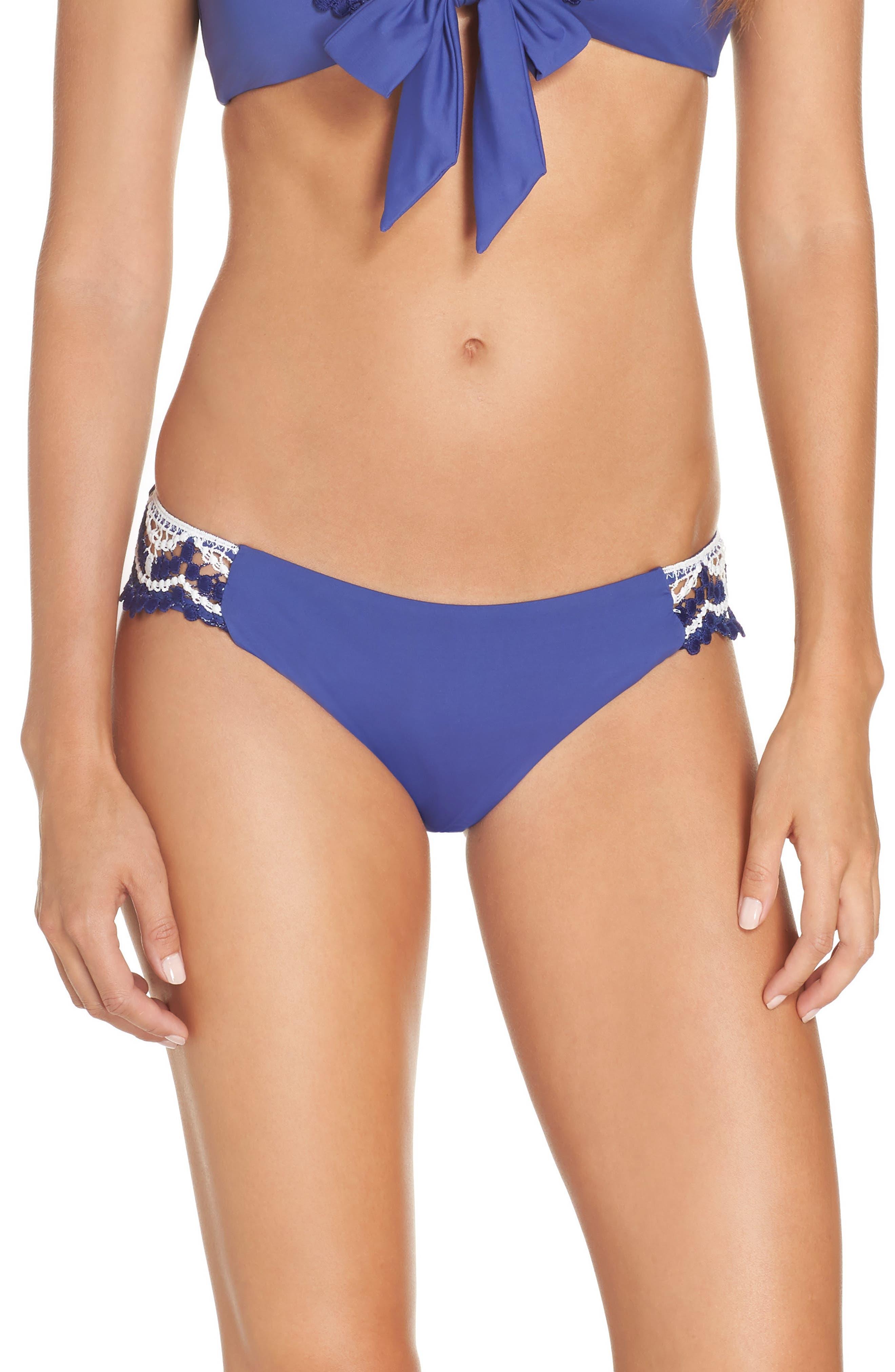 Becca Delilah Crochet Hipster Bikini Bottoms, Blue