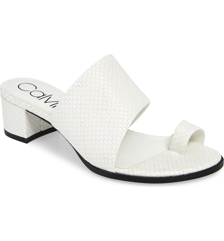 CALVIN KLEIN Dionne Slide Sandal, Main, color, WHITE LEATHER