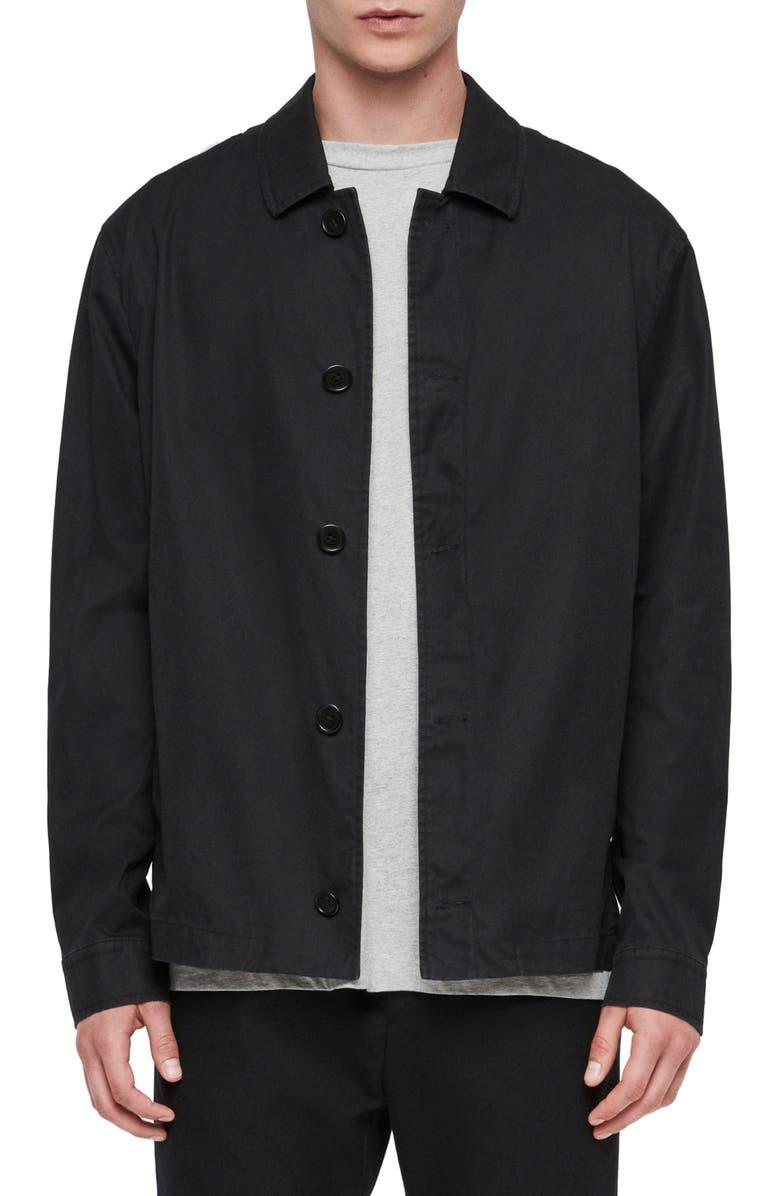 ALLSAINTS Ruston Classic Fit Poplin Jacket, Main, color, 001