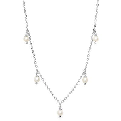 Stella And Bow Pearl Charm Choker Necklace