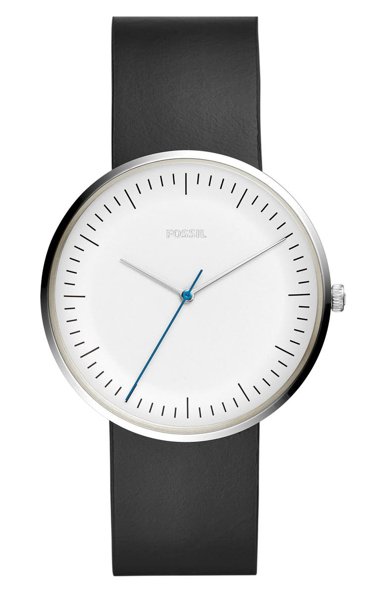 FOSSIL Essentialist Leather Strap Watch, 42mm, Main, color, 001