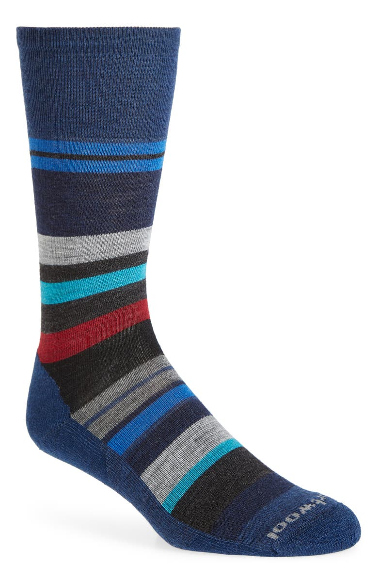 SMARTWOOL Saturnsphere Stripe Crew Socks, Main, color, ALPINE BLUE