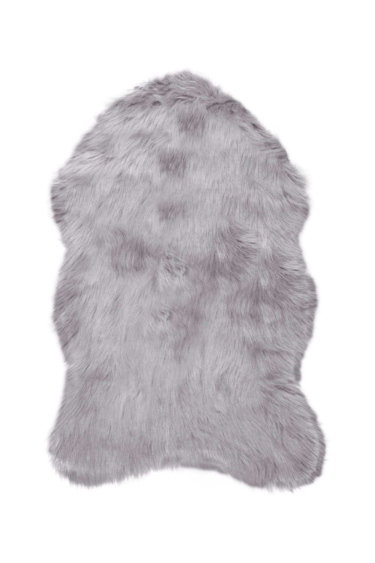 Image of LUXE Gordon Faux Fur Throw - 2ft x 3ft - Sage Grey