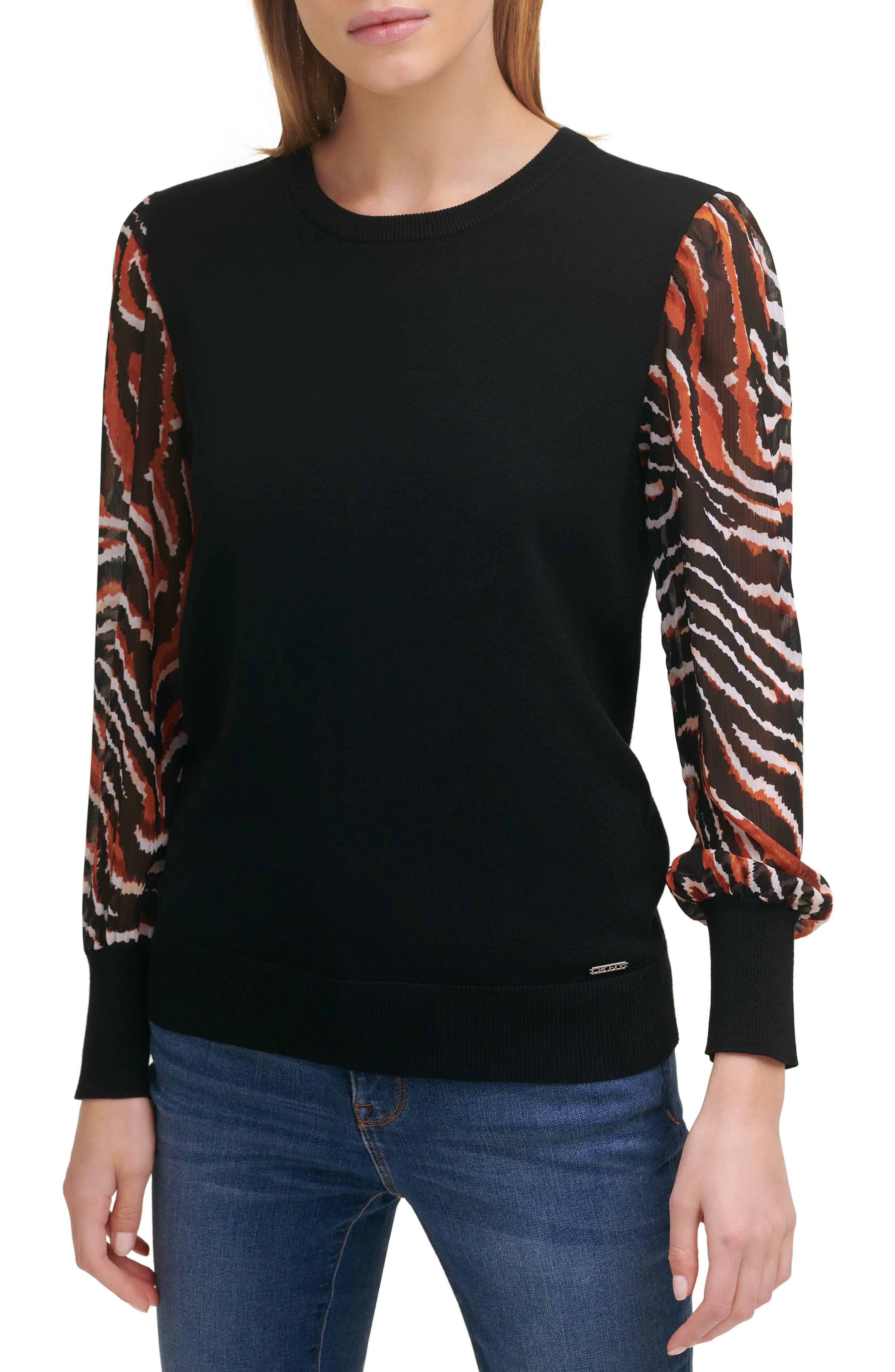 Mixed Media Chiffon Sleeve Sweater
