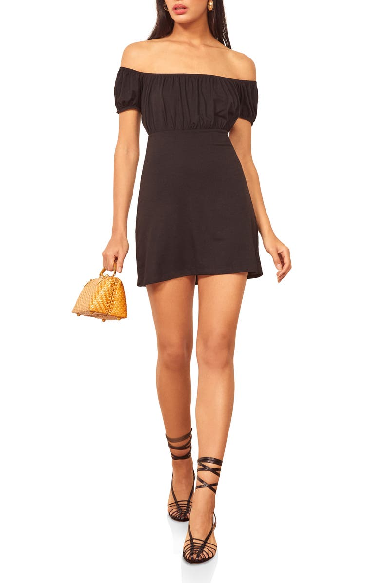 REFORMATION Echo Stretch Tencel<sup>®</sup> Lyocell Minidress, Main, color, 001