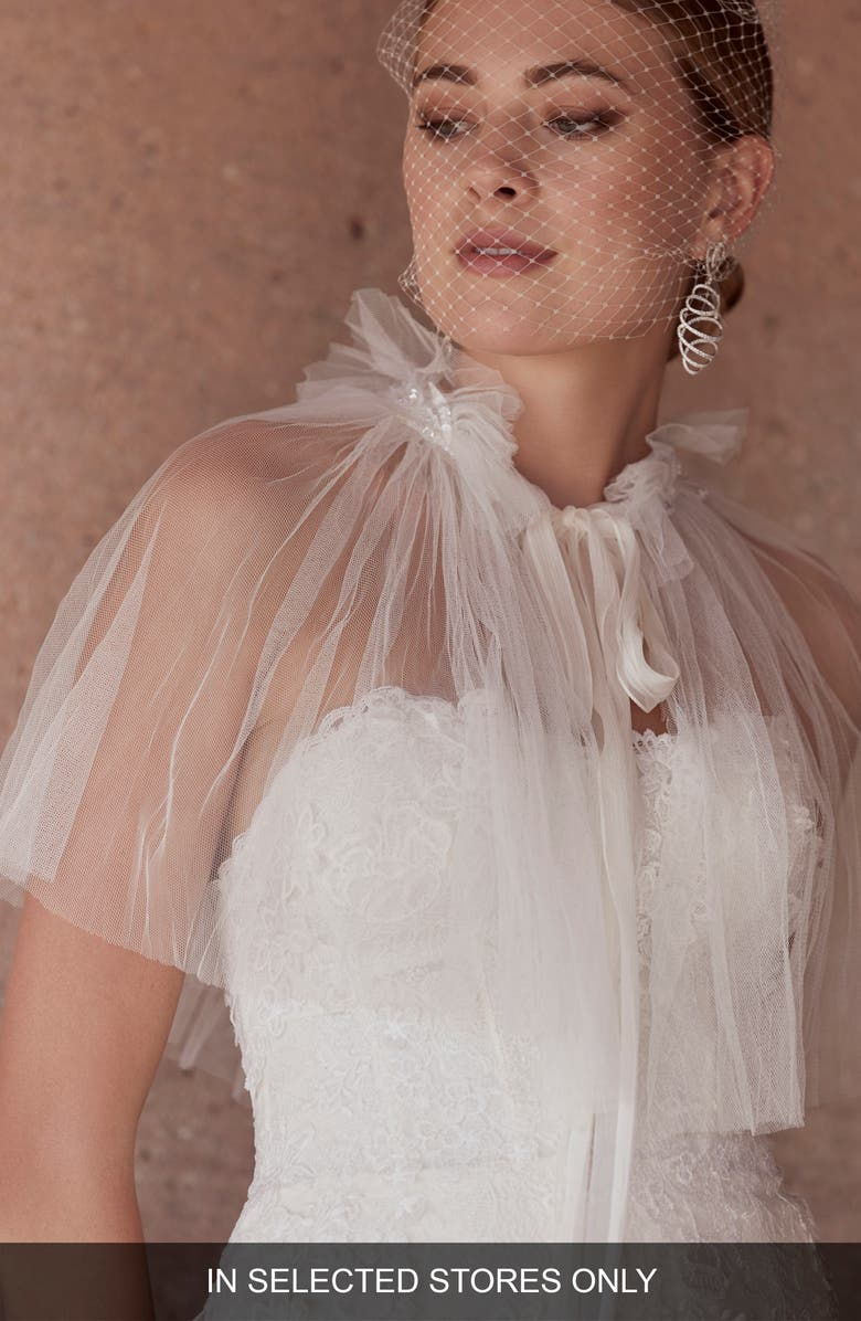 WATTERS Trey Tulle Wedding Capelet, Main, color, IVORY