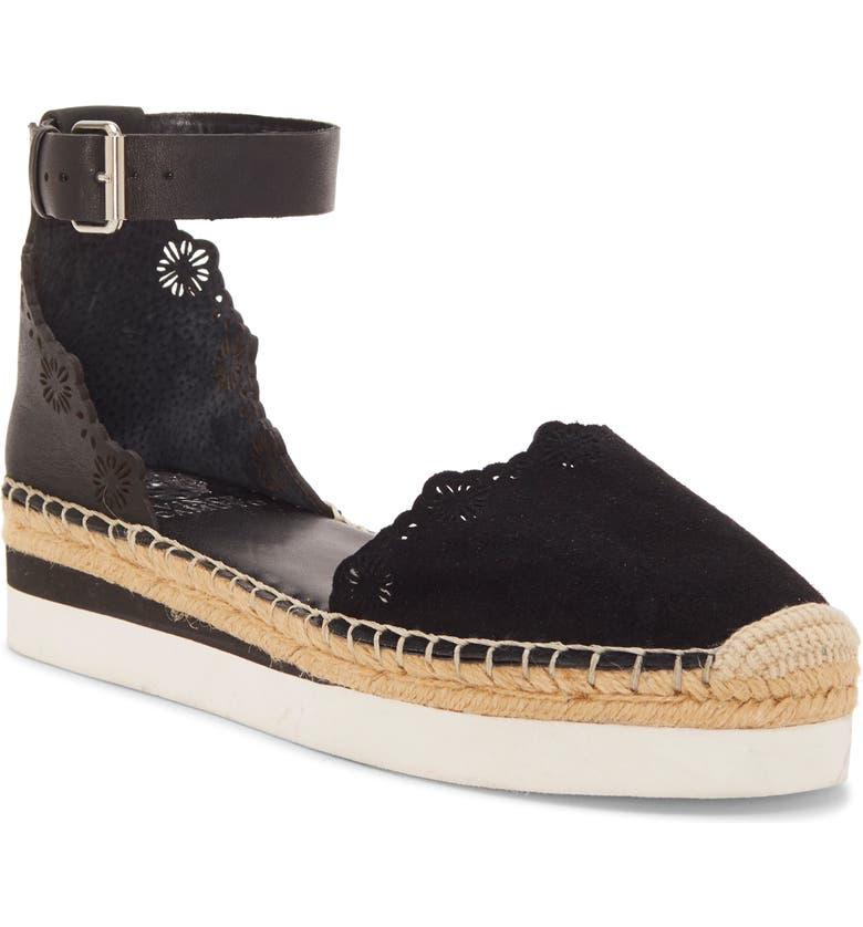 VINCE CAMUTO Breshan Ankle Strap Espadrille Wedge, Main, color, BLACK SUEDE