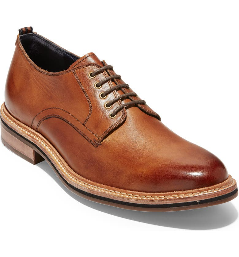 COLE HAAN Franklin Grand Plain Toe Derby, Main, color, BRITISH TAN