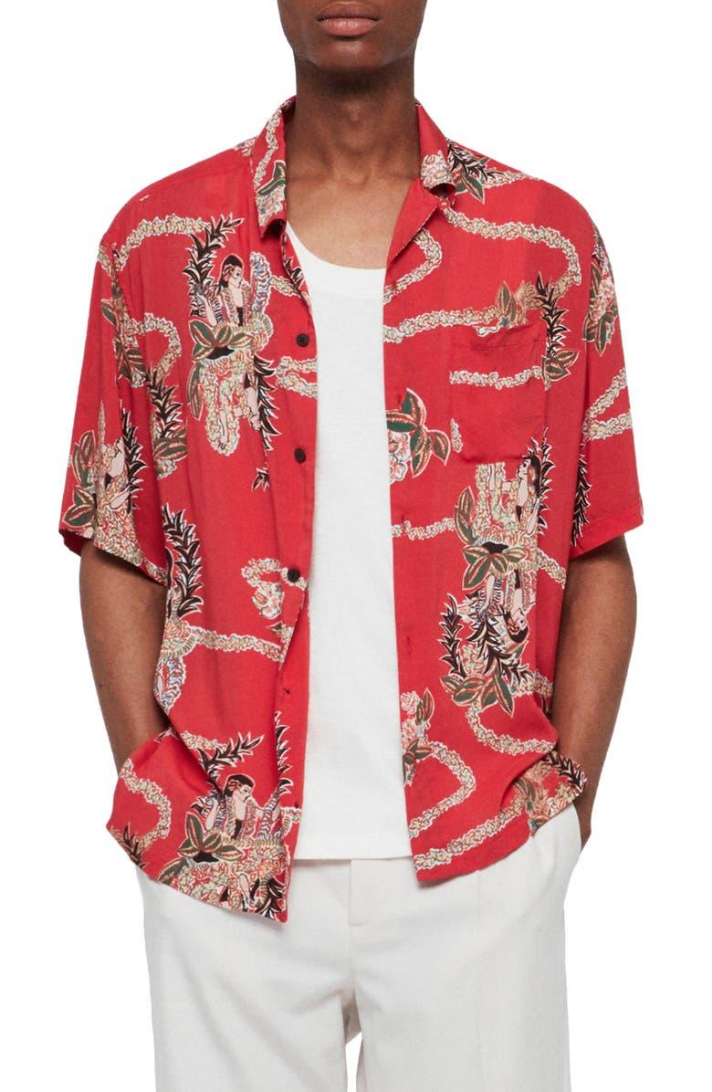 ALLSAINTS Makalika Slim Fit Print Camp Shirt, Main, color, RED