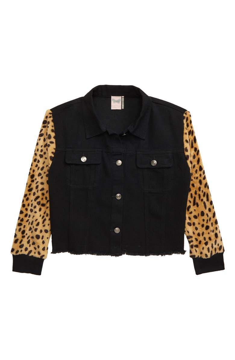 FOR ALL SEASONS Frayed Leopard Sleeve Denim Jacket, Main, color, BLK LEOPARD