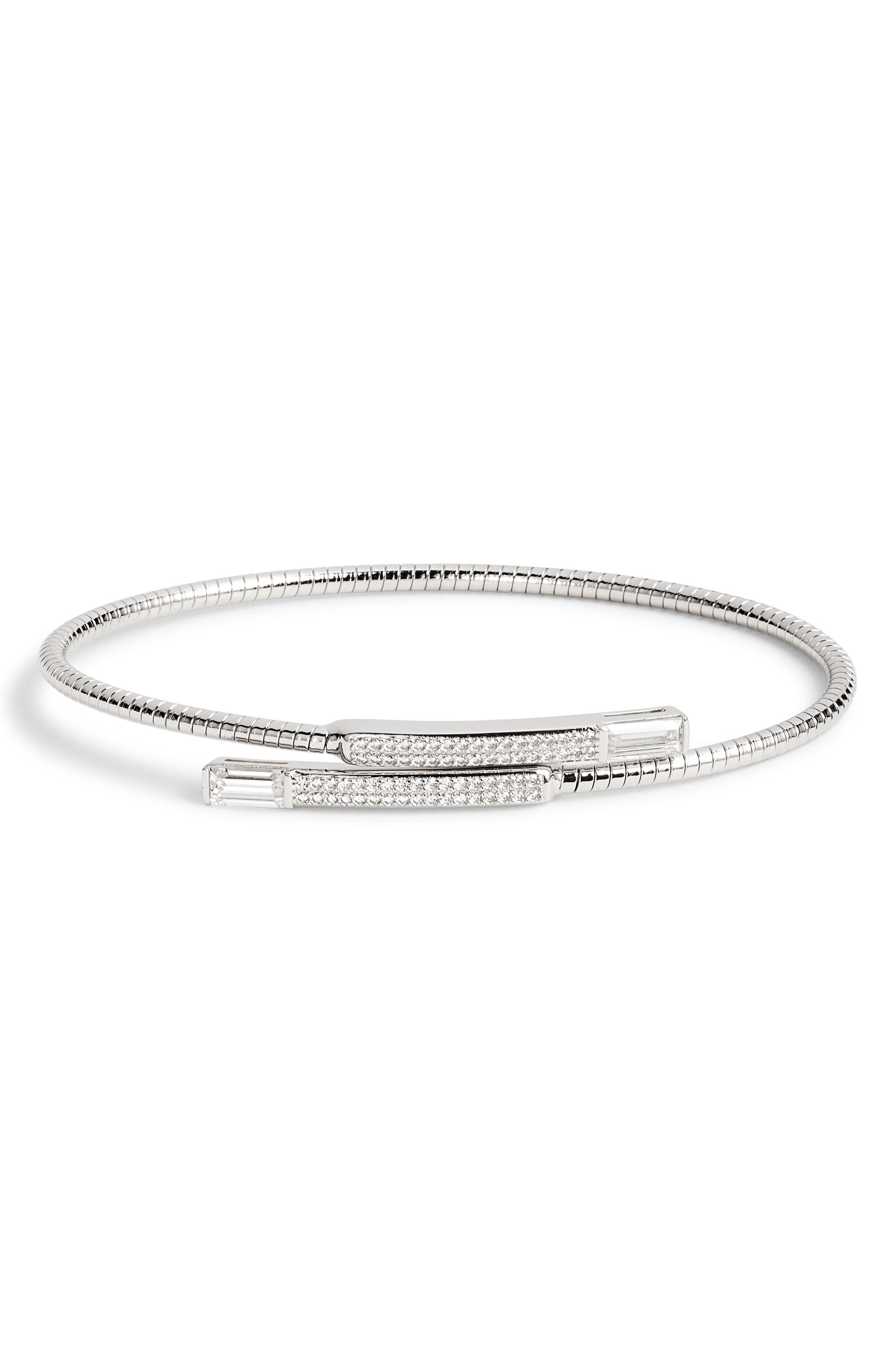 Flexi Bypass Cuff Bracelet, Main, color, SILVER