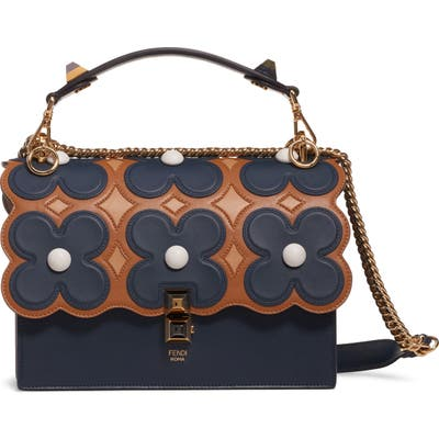 Fendi Kan I Liberty Flower Leather Shoulder Bag - Blue