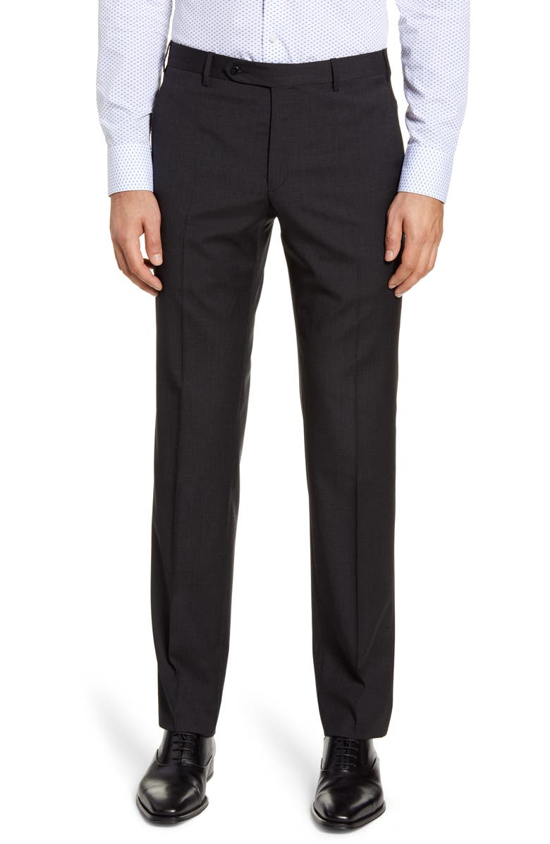 ZANELLA Parker Flat Front Solid Wool Dress Pants, Main, color, CHARCOAL