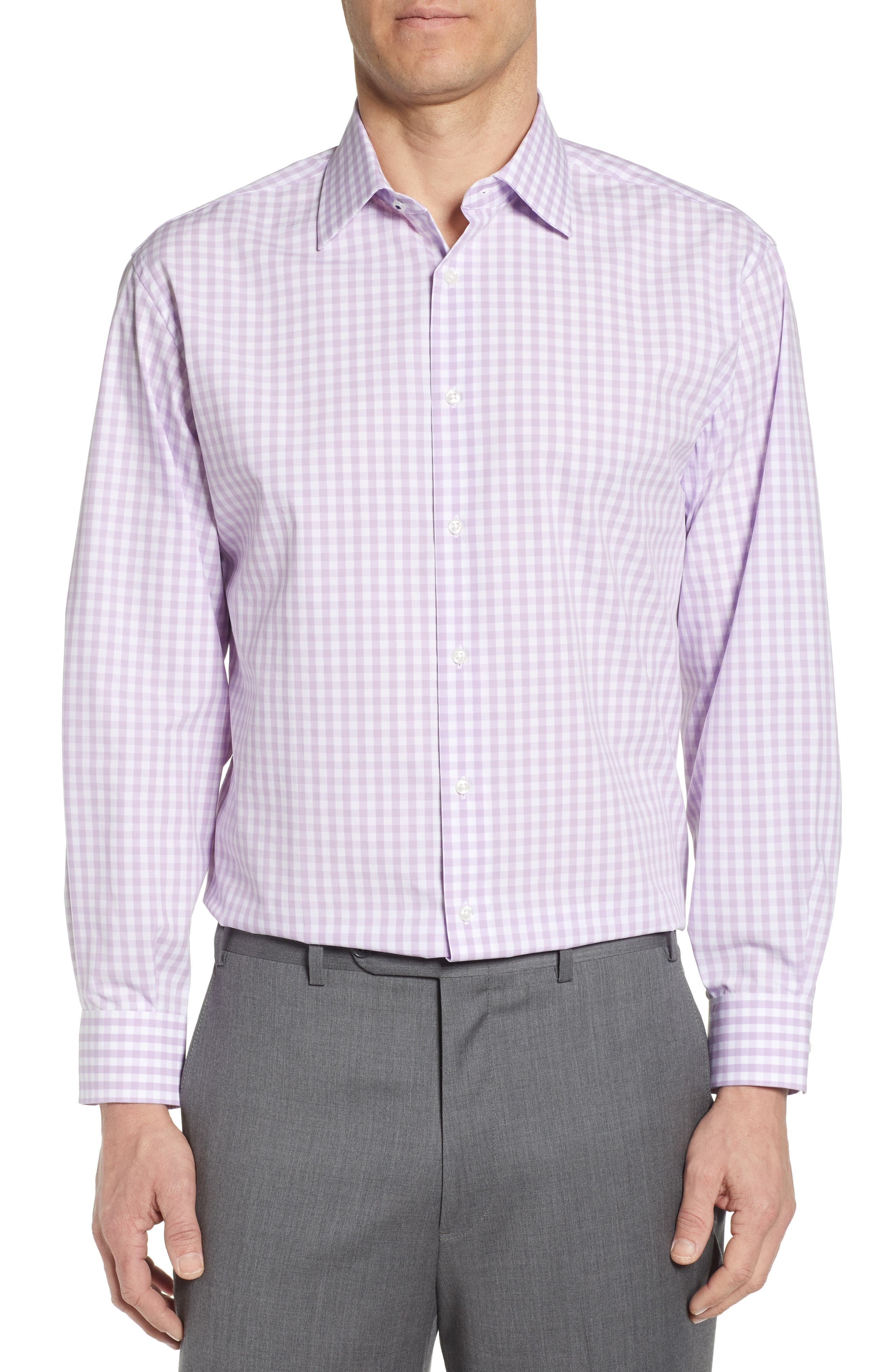 A wardrobe-staple dress shirt is tailored from a breathable stretch-cotton tech blend that keeps you feeling dry and looking smart all day. Sharp checks complete the look. Style Name: Nordstrom Men\\\'s Shop Tech-Smart Classic Fit Stretch Check Dress Shirt. Style Number: 5626283. Available in stores.