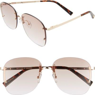 Le Specs Skyline 5m Rimless Sunglasses - Gold/ Brown Grad
