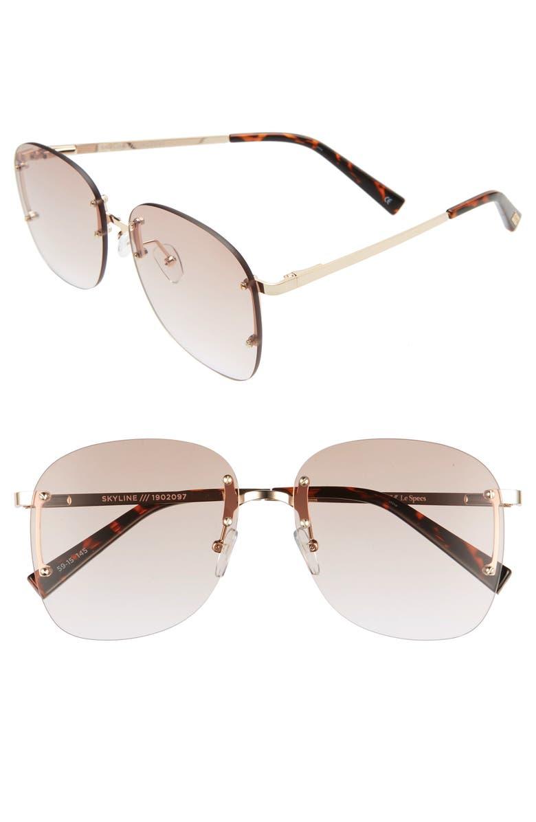 LE SPECS Skyline 59mm Rimless Sunglasses, Main, color, GOLD/ BROWN GRAD