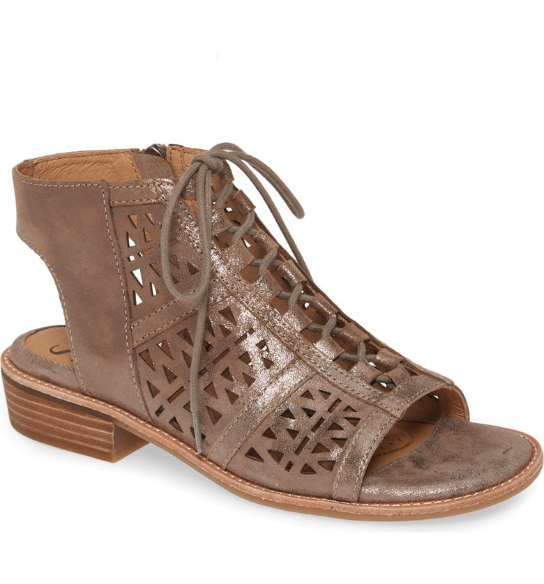 SÖFFT Nora Ghillie Sandal, Main, color, SMOKE LEATHER