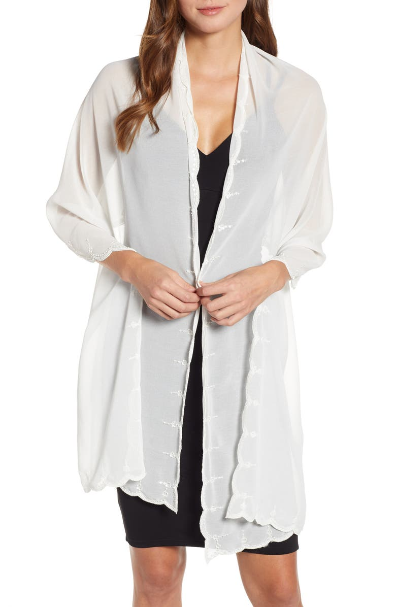 ECHO Scallop Edge Embellished Wrap, Main, color, IVORY