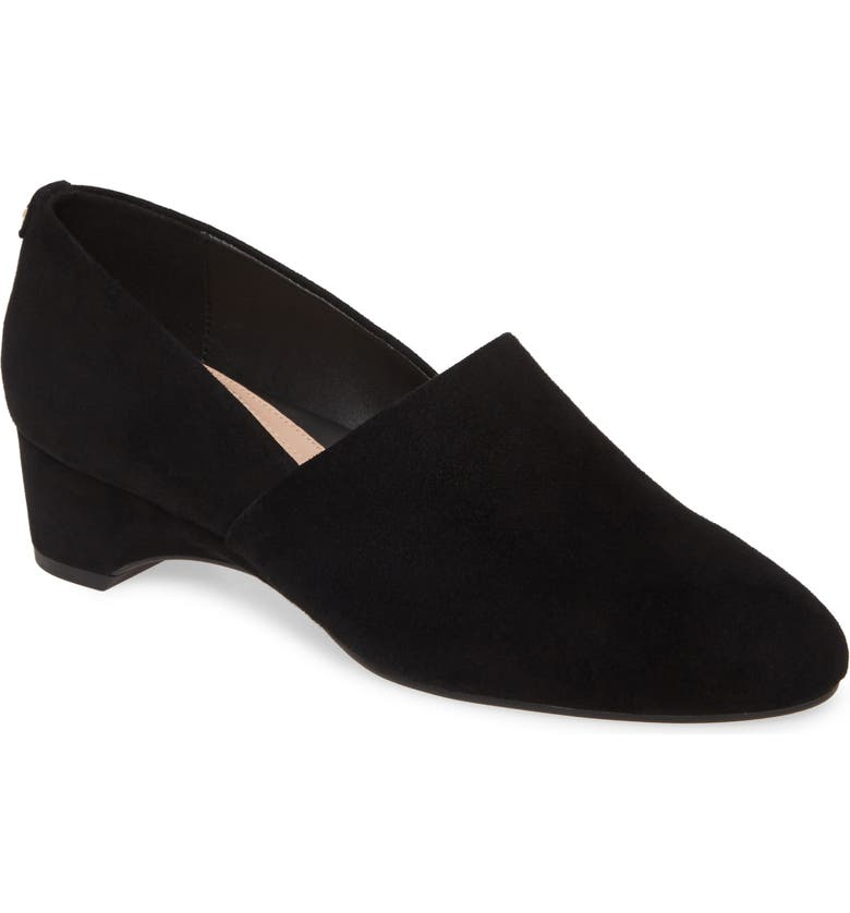 TARYN ROSE Brenda Wedge Pump, Main, color, BLACK SUEDE
