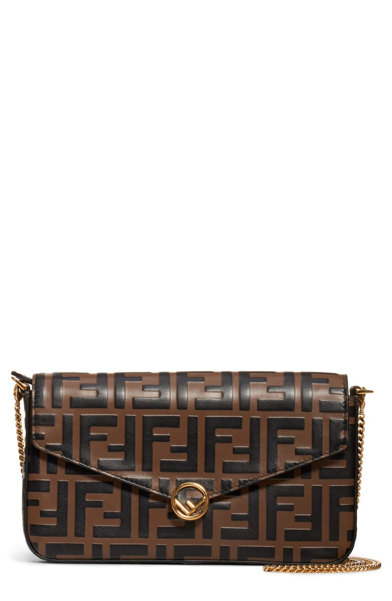 FENDI Double-F Logo Leather Wallet on a Chain, Main, color, 200