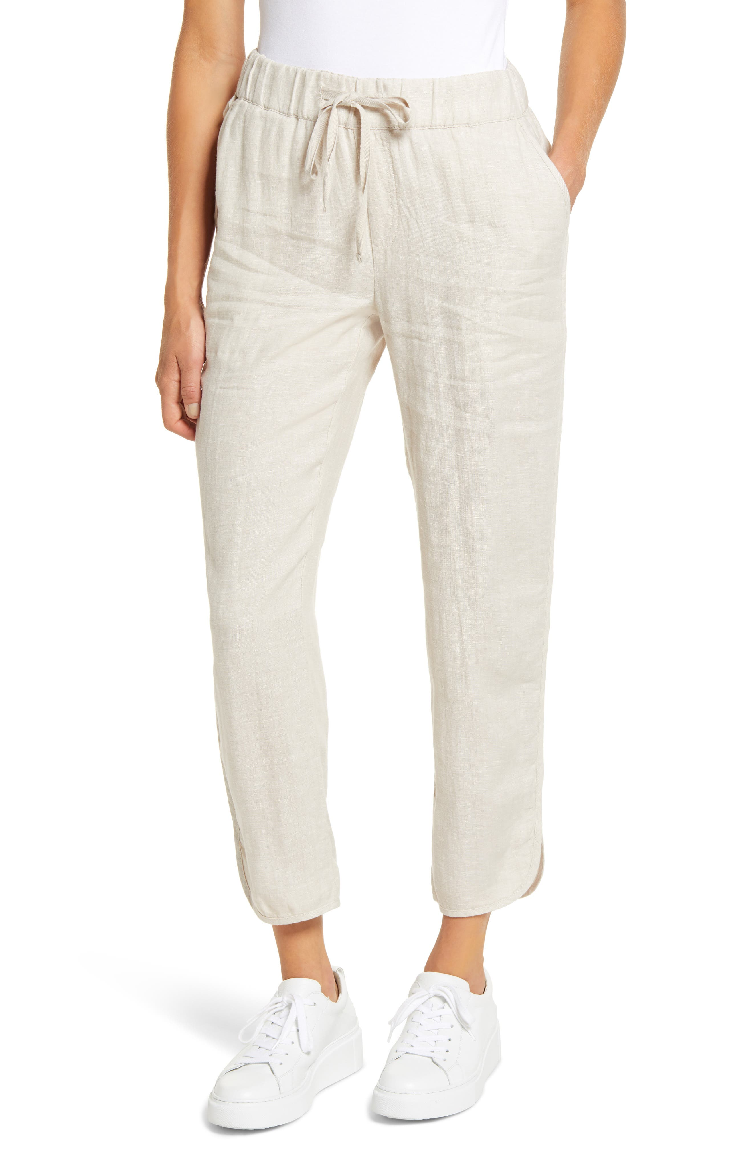 These lightweight linen trousers are fashioned with a comfy drawstring waist, handy pockets and flowy split cuffs with smooth binding. Style Name: Caslon Drawstring Linen Jogger Pants. Style Number: 5999912. Available in stores.