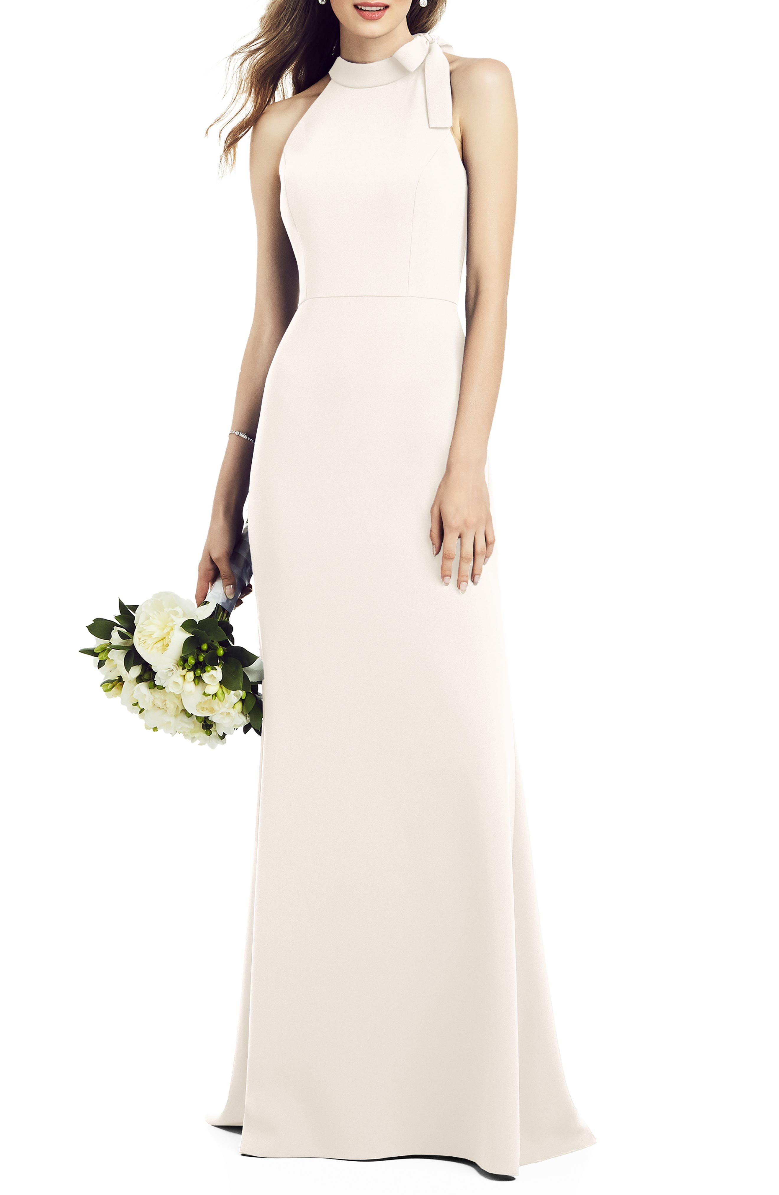 Bow Neck Crepe Gown