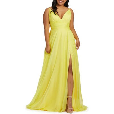 Plus Size MAC Duggal Ruched Satin Gown, Yellow