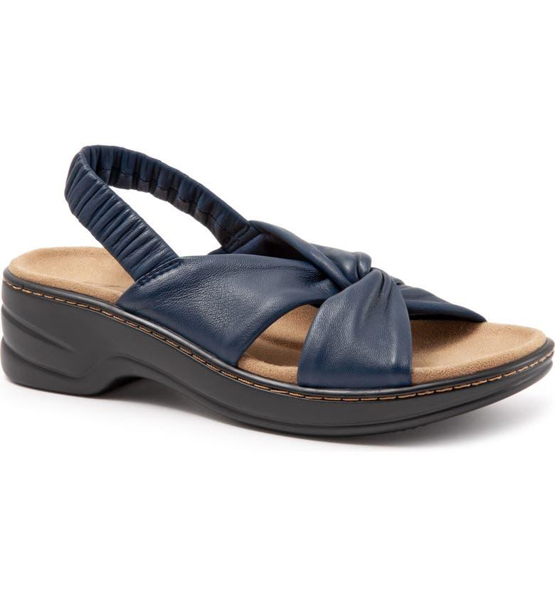 TROTTERS Nella Stretch Slingback Sandal, Main, color, BLUE LEATHER