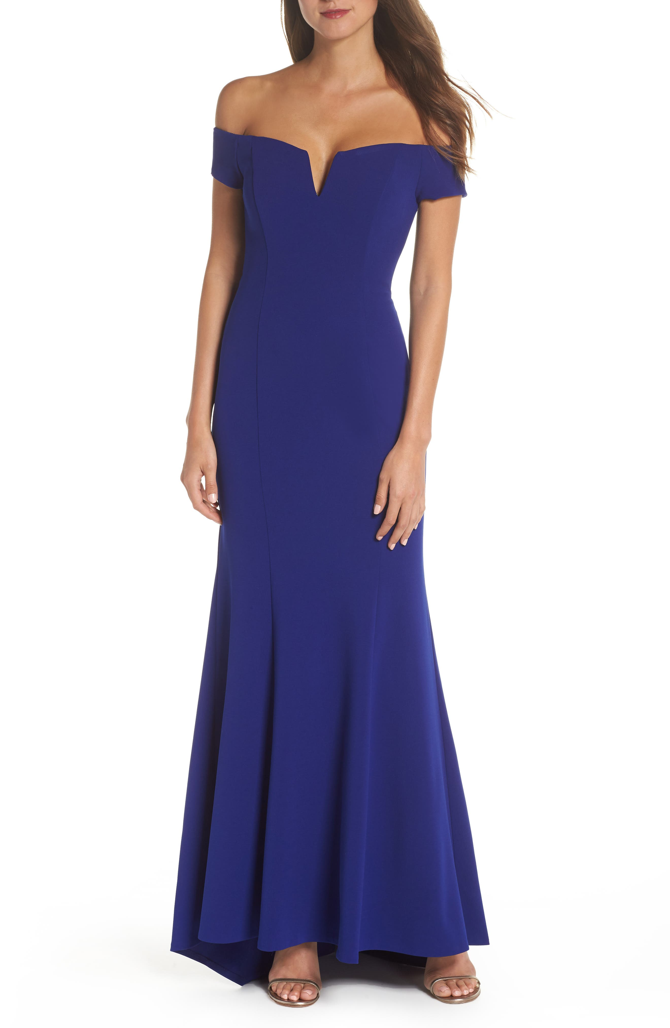 Vince Camuto Notched Off The Shoulder Trumpet Gown, Blue