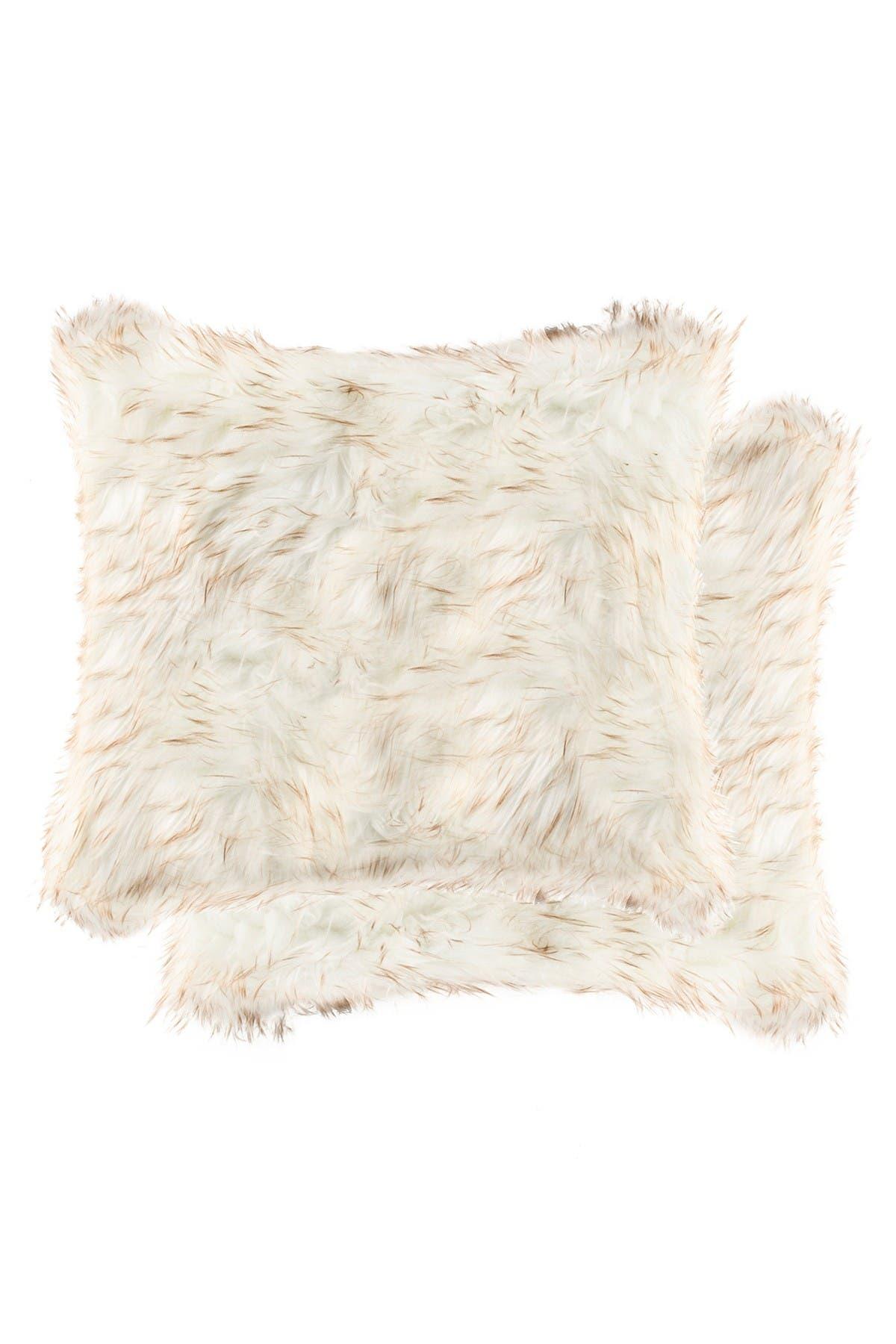 "Image of LUXE Belton Faux Fur Pillow - Set of 2 - 18"" x 18"" - Gradient Tan"