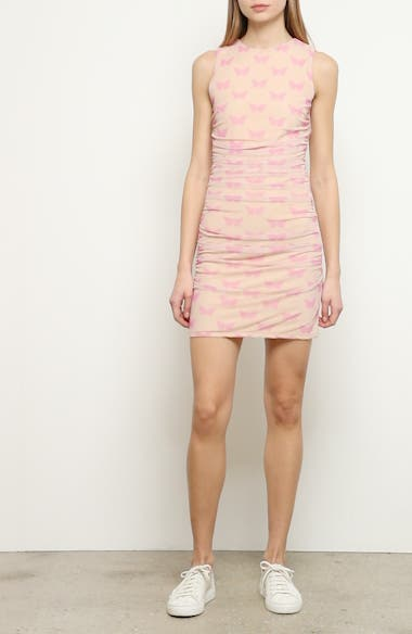 Solo Butterfly Print Ruched Minidress, video thumbnail