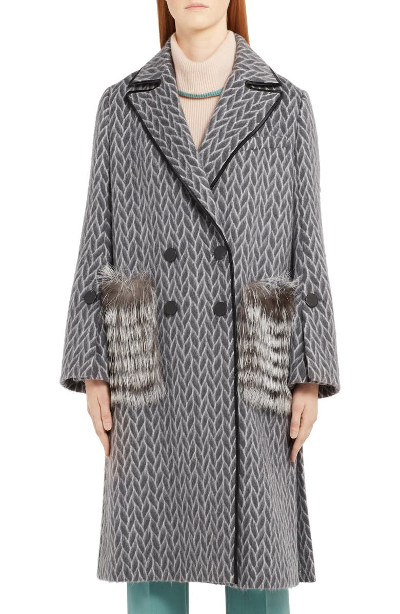 FENDI Double Breasted Wool & Alpaca Blend Coat with Genuine Fox Fur Pockets, Main, color, GREY