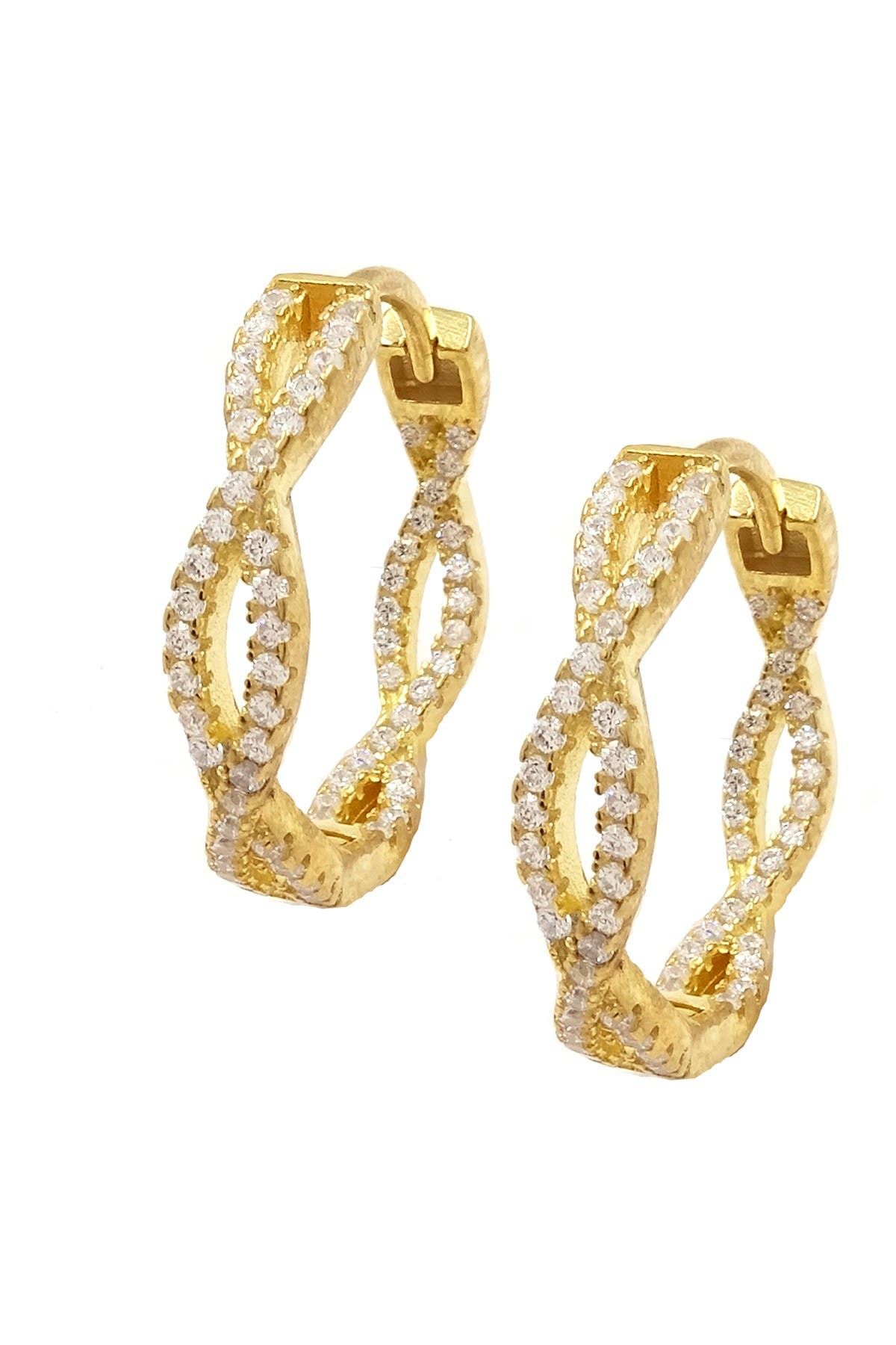 Image of Savvy Cie 18K Gold Vermeil CZ Braided Hoop Earrings