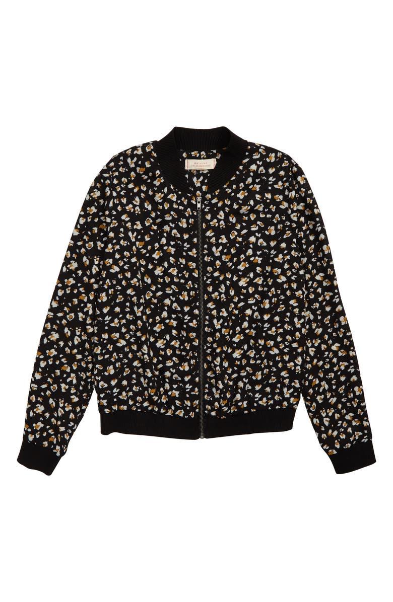 WALKING ON SUNSHINE Floral Bomber Jacket, Main, color, BLACKMSTGLD