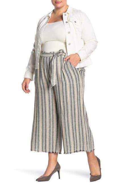 Image of Caslon Striped Linen Blend Crop Pants