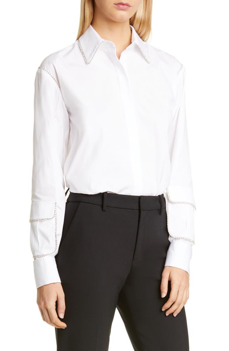 AREA Crystal Trim Cargo Pocket Sleeve Shirt, Main, color, WHITE