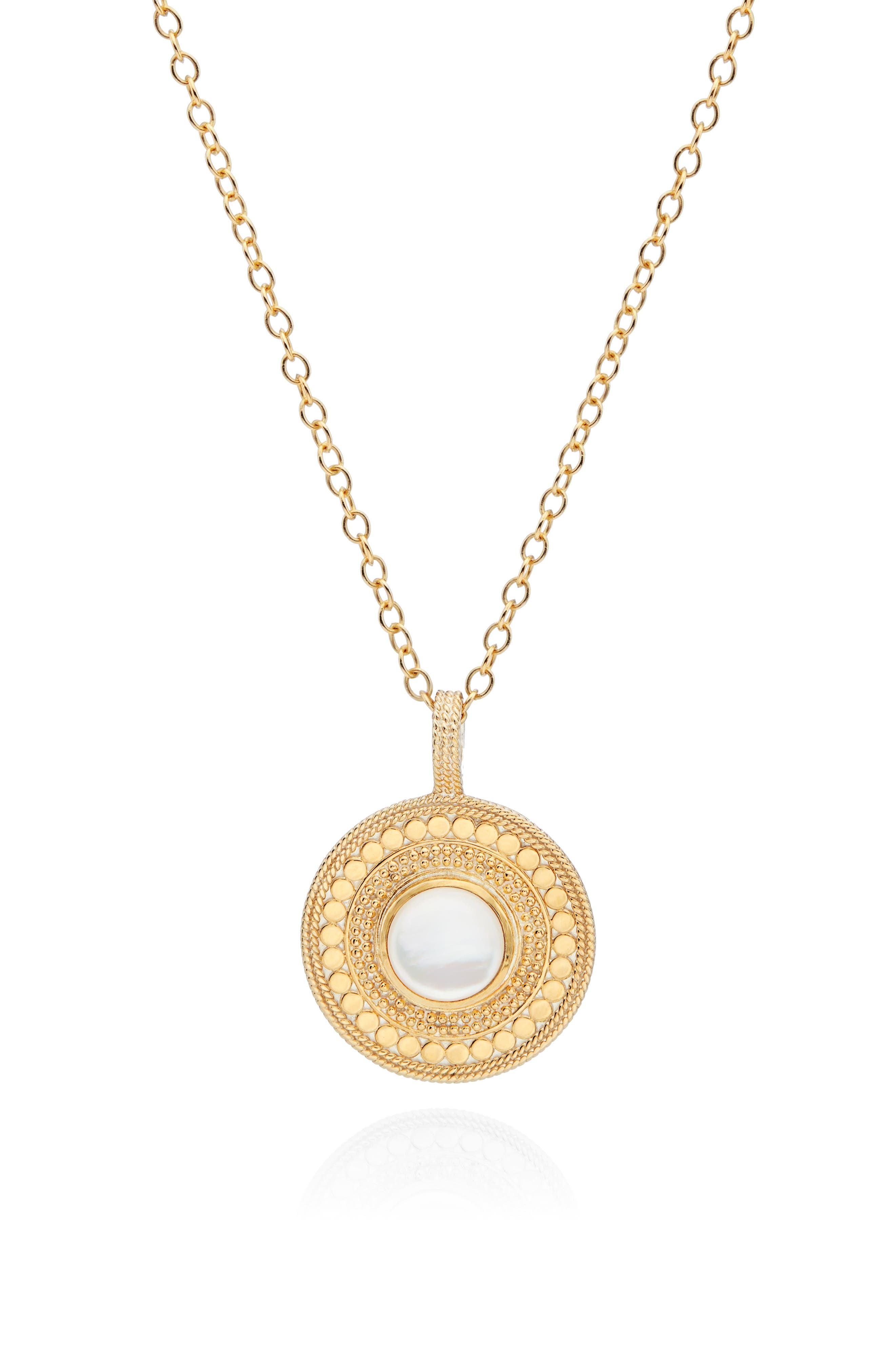 Mother-Of-Pearl Long Pendant Necklace