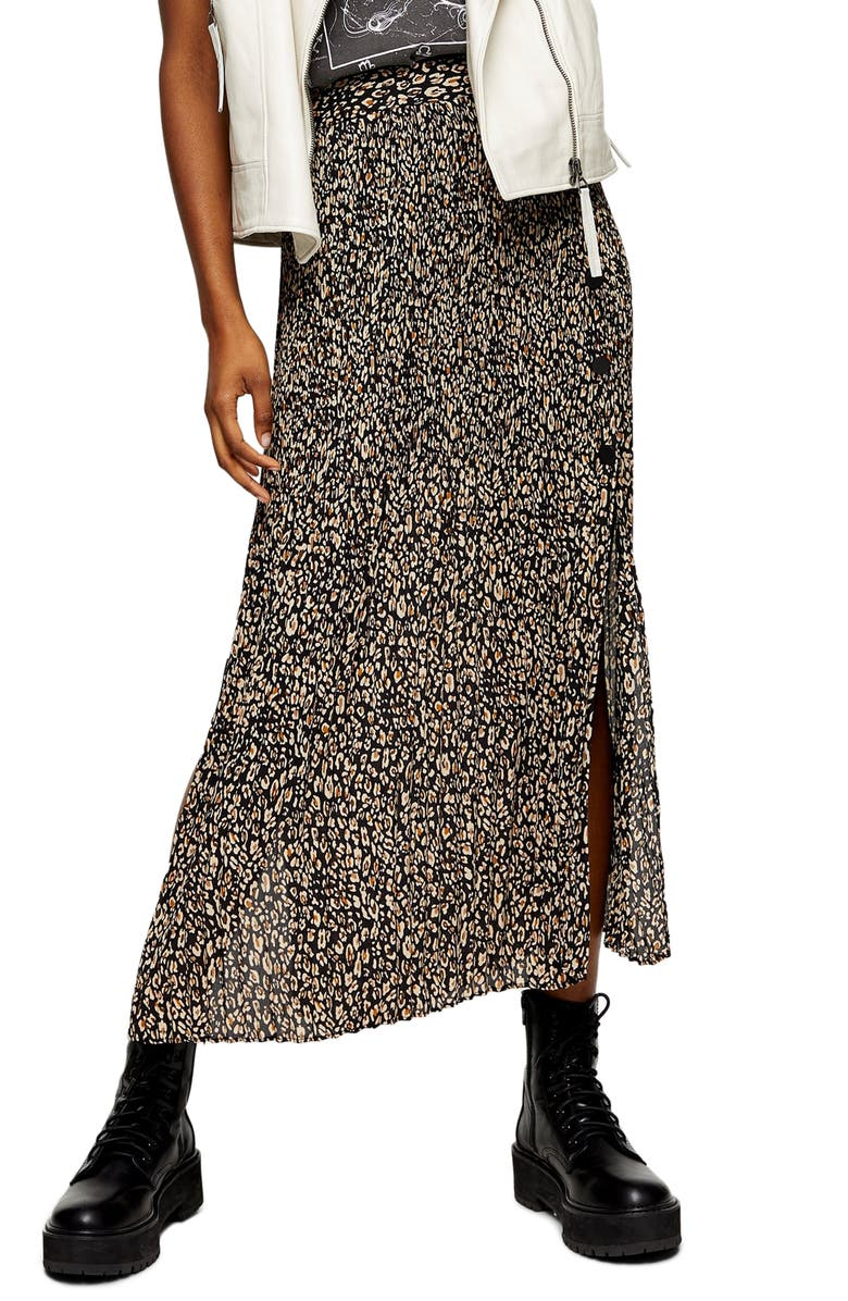 TOPSHOP Leopard Print Pleated Midi Skirt, Main, color, BROWN MULTI