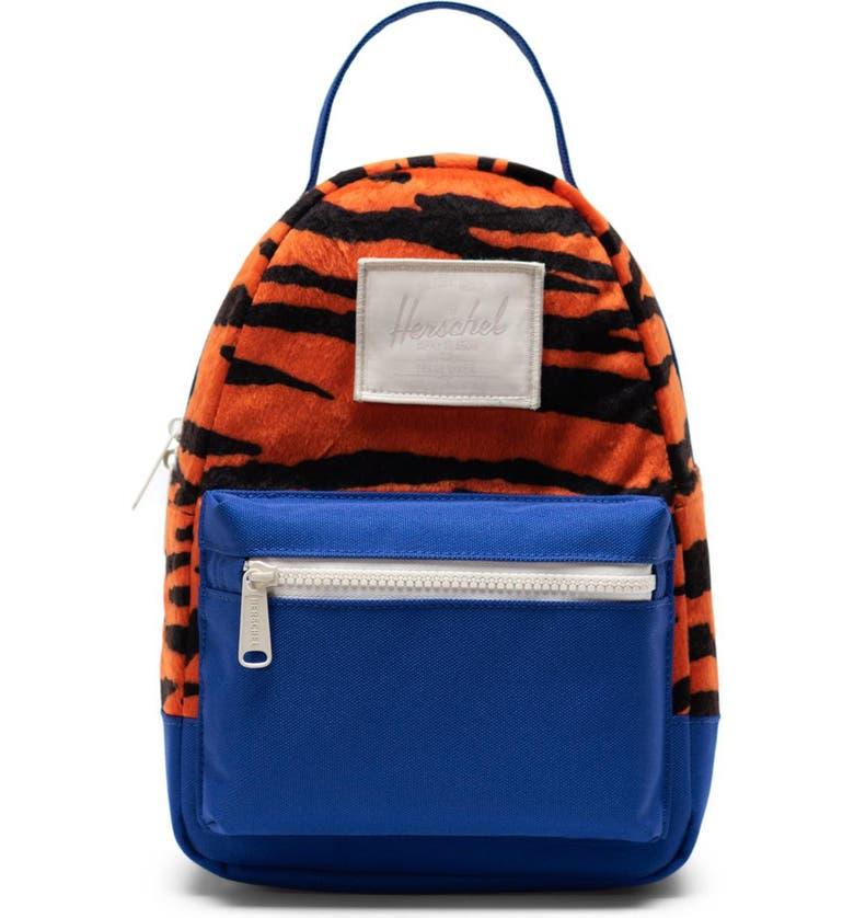 HERSCHEL SUPPLY CO. Mini Nova Fleece & Canvas Backpack, Main, color, TIGER/ ROYAL BLUE