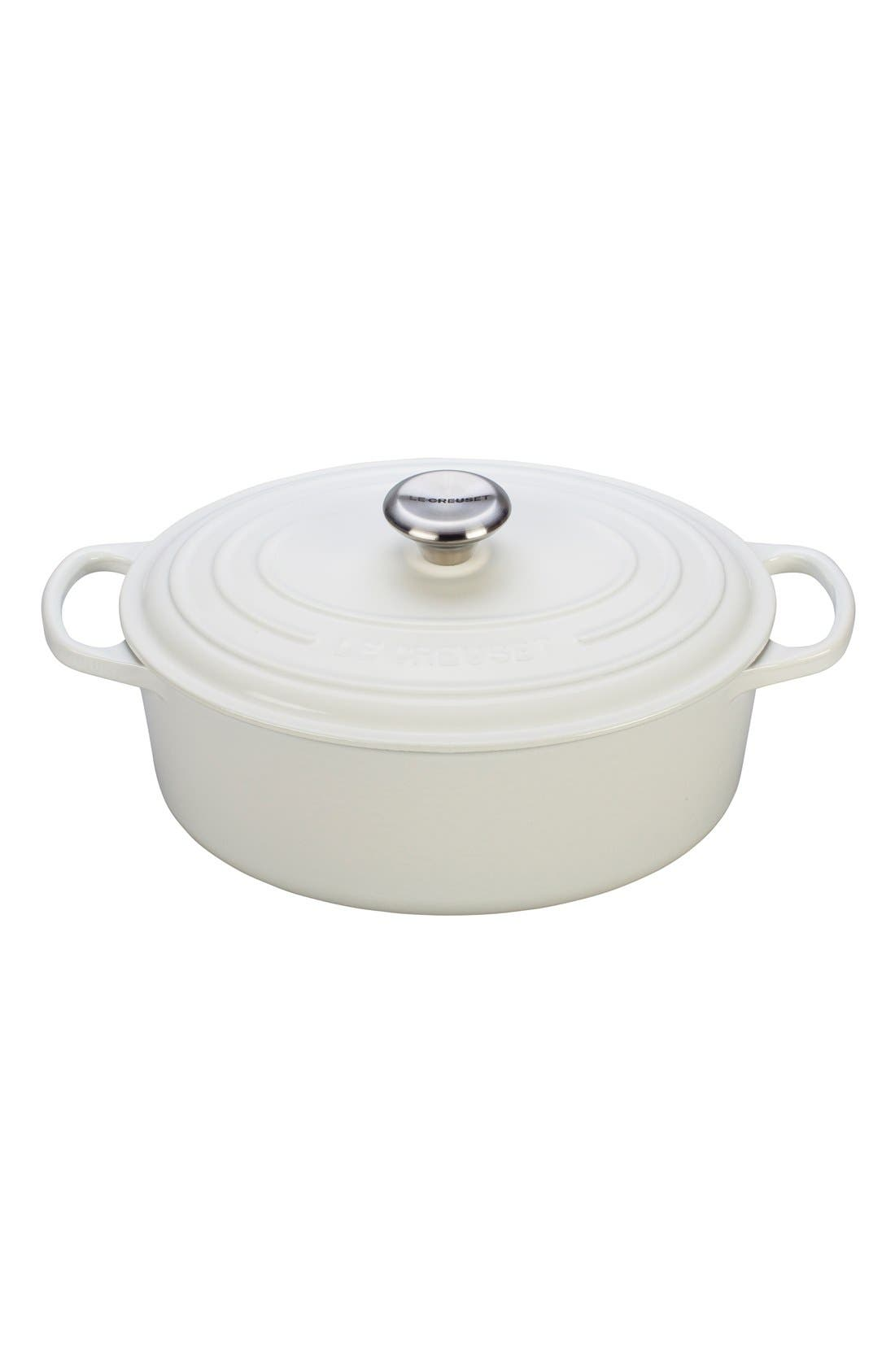 ,                             Signature 5 Quart Oval Enamel Cast Iron French/Dutch Oven,                             Main thumbnail 1, color,                             WHITE