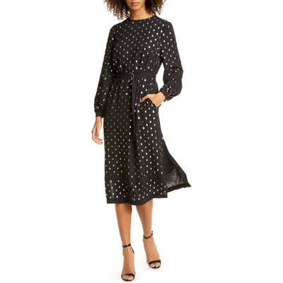 Ted Baker London Haylow Metallic Fleck Long Sleeve Dress, (fits like 14 US) - Black