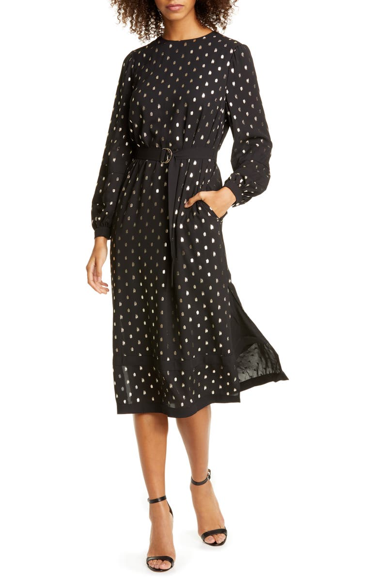 TED BAKER LONDON Haylow Metallic Fleck Long Sleeve Dress, Main, color, 001