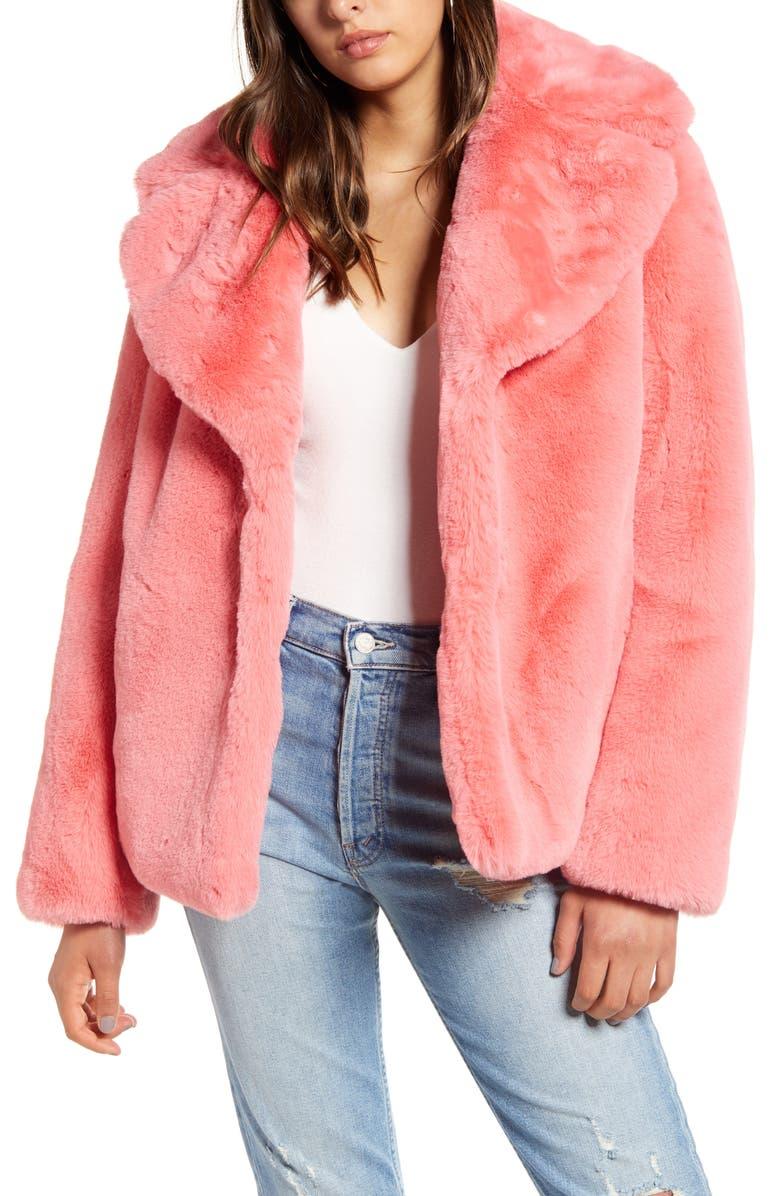 KENDALL + KYLIE Faux Fur Jacket, Main, color, CORAL